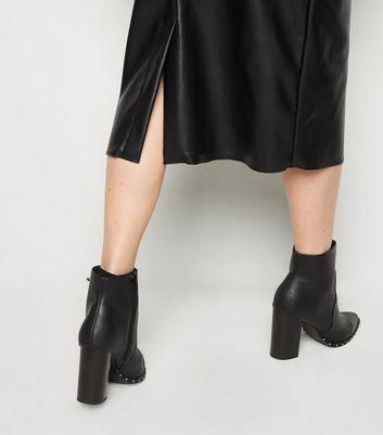 NA-KD Black Coated Leather-Look Midi Skirt New Look