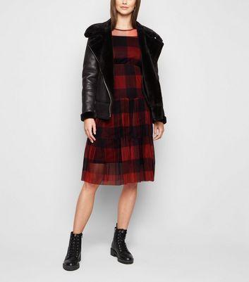 Urban Bliss Black Check Mesh Dress New Look