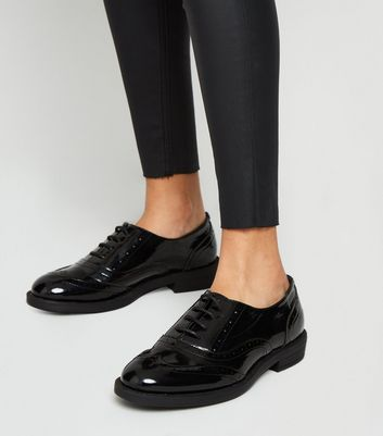 Girls Black Patent Lace-Up Brogues