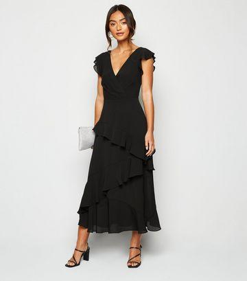 Petite Black Frill Wrap Midi Dress