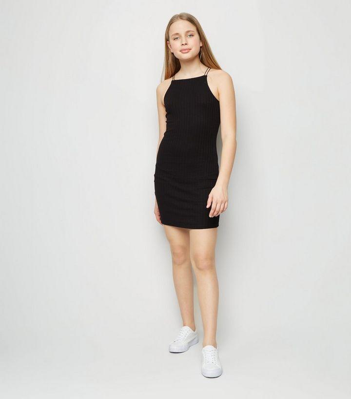 Girls Mini Robe Pres Du Corps Noire Cotelee New Look
