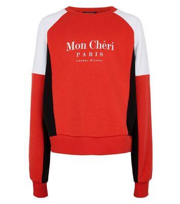girls red chérie slogan colour block sweatshirt new look