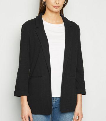Tall Black Crosshatch Stretch Blazer