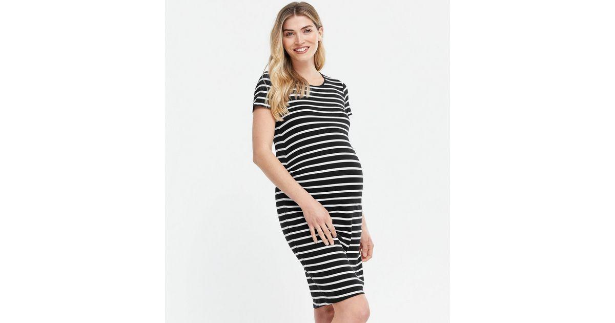 Umstandsmode - Schwarzes Kleid aus Jersey mit Streifen ...
