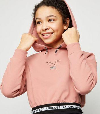girls mid pink la tape slogan hoodie new look