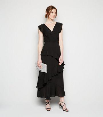 Tall Black Frill Chiffon Wrap Midi Dress
