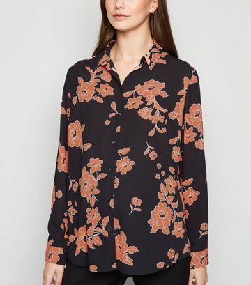 Maternity Black Floral Long Sleeve Shirt