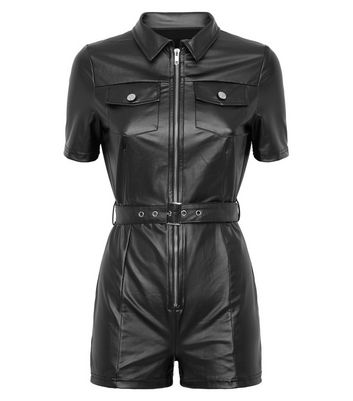 Parisian Black Leather-Look Belted Unitard New Look