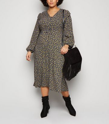 Curves Black Spot Frill Trim Midi Dress