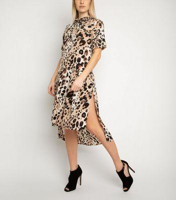 Miss Attire Brown Leopard Print Shirt Dress New Look