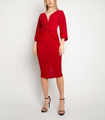 Miss Attire Burgundy Twist Front Midi Dress New Look