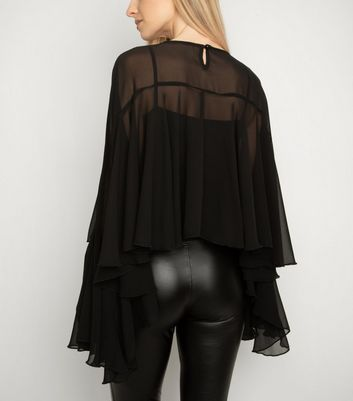 Miss Attire Black Layered Chiffon Blouse New Look