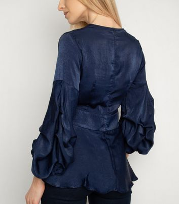 Miss Attire Navy V Neck Puff Sleeve Top New Look