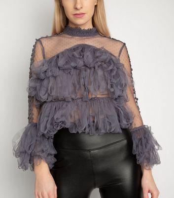 Miss Attire Dark Grey Ruffle Loop Trim Mesh Top New Look