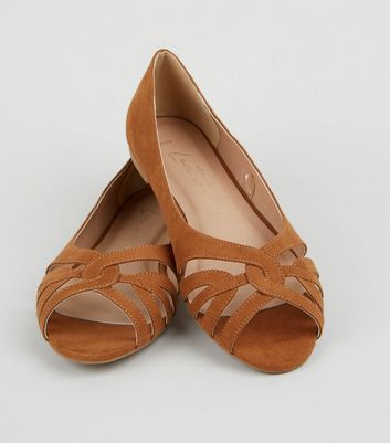 Click to view product details and reviews for Wide Fit Tan Suedette Lattice Peep Toe Pumps New Look Vegan.