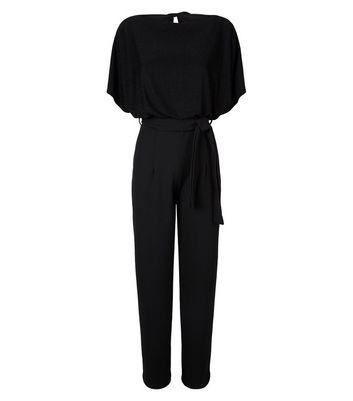 Missfiga Black Glitter Belted Jumpsuit New Look