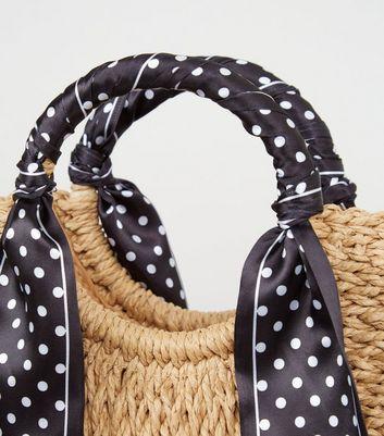 shop for Stone Half Moon Woven Straw Grab Handle Tote Bag New Look at Shopo