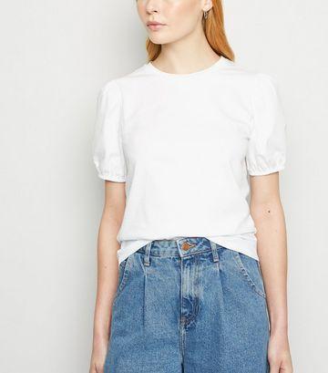 White Woven Puff Sleeve T-Shirt