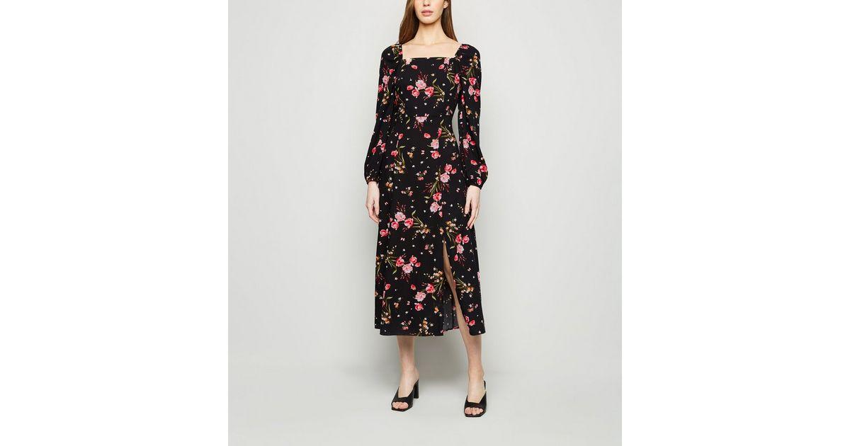 Schwarzes, langärmliges Kleid mit Blumenmuster und eckigem Kragen  New Look