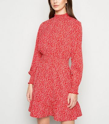 Red Ditsy Floral Shirred Frill Dress