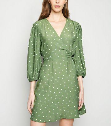 Green Spot Puff Sleeve Wrap Dress