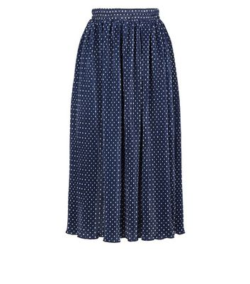 Click to view product details and reviews for Mela London Navy Spot Pleated Midi Skirt New Look.