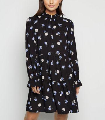 Petite Black Floral High Neck Dress