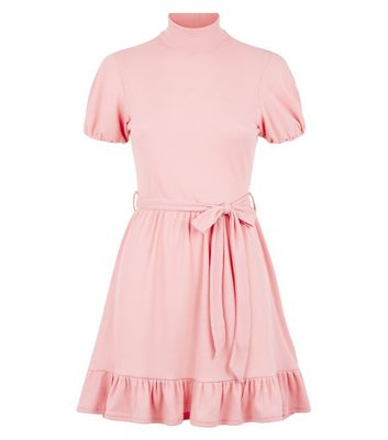 Innocence Pink High Neck Ribbed Skater Dress New Look