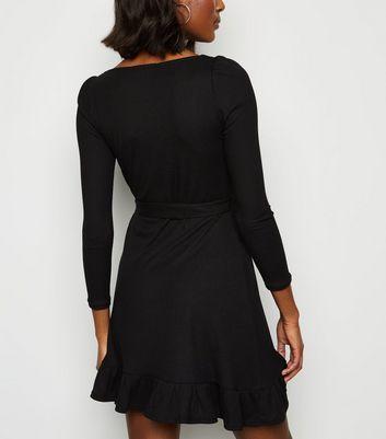Innocence Black Ribbed Mini Dress New Look