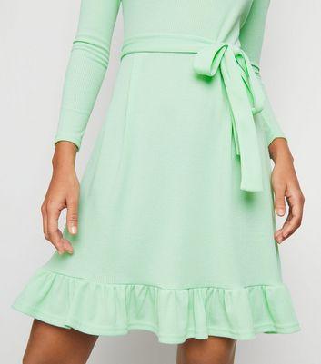 Innocence Light Green Ribbed Mini Dress New Look