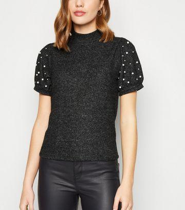 Dark Grey Faux Pearl High Neck T-Shirt