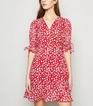 Red Floral Tie Puff Sleeve Wrap Dress