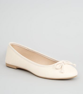 Off White Leather-Look Ballet Pumps