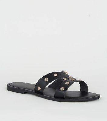 Black Leather Studded Sliders | New Look