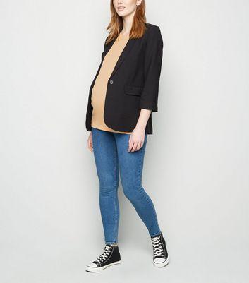 maternity camel short sleeve t-shirt new look
