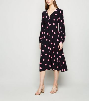 Black Spot Button Long Sleeve Midi Dress