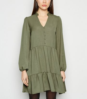 Khaki V Neck Button Front Smock Dress