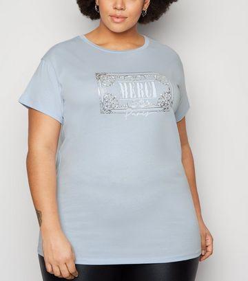 Curves Pale Blue Merci Slogan T-Shirt