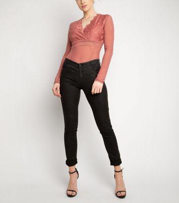 NaaNaa Mid Pink Lace Mesh Bodysuit New Look