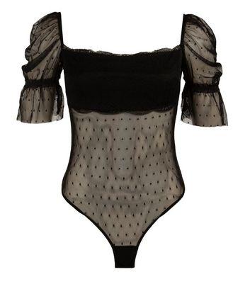 NaaNaa Black Lace Spot Mesh Bodysuit New Look