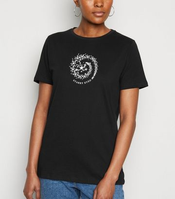Black Starry Eyed Slogan T-Shirt