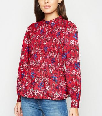 Innocence Red Floral Smock Top New Look