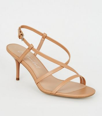 shop for Camel Leather-Look Strappy Square Toe Stilettos New Look at Shopo