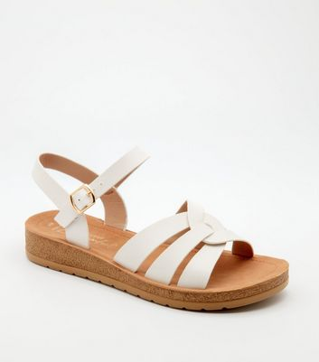 Wide Fit White Woven Strap Chunky