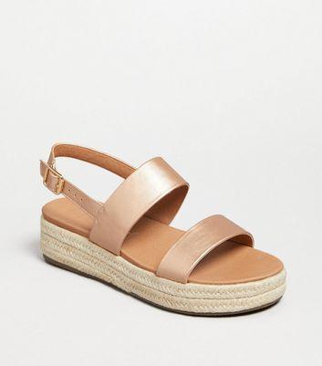 Rose Gold Espadrille Flatform Sandals