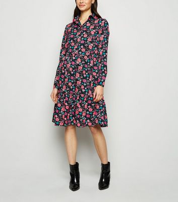 Innocence Black Floral Smock Dress New Look