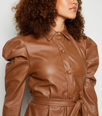 Honey Behave Tan Leather-Look Puff Sleeve Dress New Look
