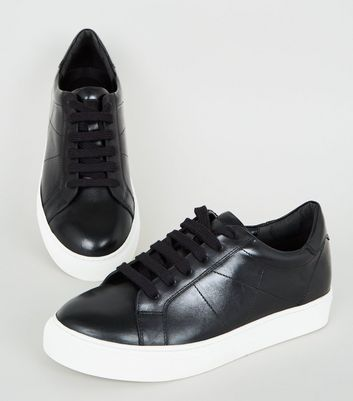 Black Leather Seam Detail Lace Up