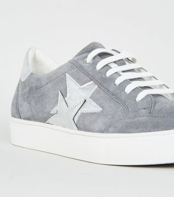 Grey Suede Metallic Star Side Lace Up