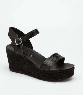 black espadrille platform wedges
